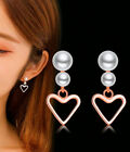 Heart Pearl 925 Sterling Silver Ear Stud Earrings Womens Girls Jewellery Gift Uk