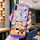 Winnie The Pooh Tigger Arc Shape Machine Hollow Glass Phone Case For iPhone Xs X