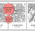 Custom Map Wall Art Print Poster Set of 3 City Map Street Black & White Decor