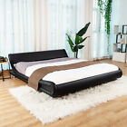 Kyпить King/Queen PU Leather Metal Platform Bed Frame Headboard & Wood Slats Black на еВаy.соm