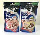 Felix CRISPIES CAT TREATS - 2 x 60g Packs - 1 Salmon Trout & 1 x Beef Chicken
