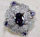 Buy Now 3CT Amethyst & White Topaz 925 Sterling Silver Ring Jewelry Sz 8, P5