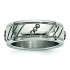 Chisel Stainless Steel Polished Beaded Grooved Ring SR594 image