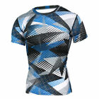 Men Compression T Shirt Short Sleeve Skinny Tights Base Layer Camo Sport Gym Top