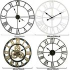 Large Traditional Vintage Style Iron Wall Clock Roman Numerals Home Decor Gift