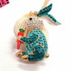 New Betsey Johnson Blue Crystal Rabbit Carrot Crystal Necklace Sweater Chain