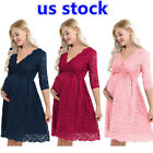 US Elegant Women Floral Lace Half Sleeve Baby Shower Knee Length Maternity Dress