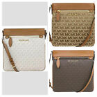 New Michael Kors CONNIE Large North South Signature Top Zip Crossbody Bag