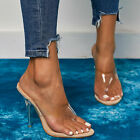 New Fashion Women PVC Apricot Clear Slippers Transparent High Heels 11CM Sandals