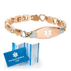 Ladies Rose Gold Heart Link Medical Alert ID Bracelet. Custom Engraved
