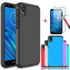 For Motorola Moto E6 Shockproof Case Cover / Hd  Tempered Glass Screen Protector