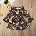 US Boutique Infant Kids Baby Girl Dress Long Sleeve Fox Print Tutu Dress Clothes