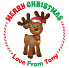 Merry Christmas Stickers Label Santa present Personalised MATT Q24 & 35