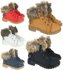 LADIES KIDS GIRLS WOMENS FUR LINNED FLAT ANKLE ARMY COMBAT WINTER BOOTS SHOES SI
