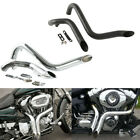 """1.75"""" Drag Pipes Exhaust For Harley Touring Road Street Gilde 84-16 Chrome/Black"""
