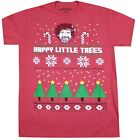 BOB ROSS HAPPY LITTLE TREES T-SHIRT RED MENS UGLY CHRISTMAS TEE RARE NEW image