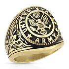 Stainless Steel Men's U.S. Army Seal with Eagle and Flag Ring Size 9-13