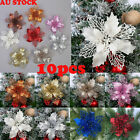 10pc Christmas Artificial Flowers Glitter Christmas Tree Home Wedding Decoration