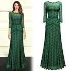 Women Elegant Long Lace Gown with Bell 3/4Sleeve Prom party Cocktail Green Dress