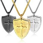 Stainless Steel The Lord's Prayer Scripture Shield with Cross Pendant & Necklace