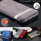 For Samsung Galaxy S9/S8/Note 8 Canvas Leather Wallet Card Flip Stand Case Cover