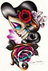 Sad Girl by Dave Sanchez Mexican Tattoo Woman Rolled Canvas or Poster Art Print
