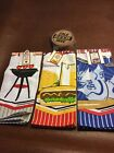 3 NWT BBQ Grill Burgers Brats Cold Beer Dish Kitchen Hand Towels 6 Cork Coasters