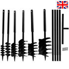Garden Fence Ground Drill & Handle Auger Bit Steel Black Hole Digger Post Hole