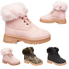 Girls Fashion Ankle Boots with Faux Fur Collar & Lining - INFANT & JUNIOR SIZES