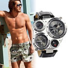 Men's Fashion Army Wrist Watch Two Time Zones Compass Thermometer Wristwatches image