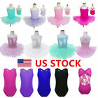 US Girls Sequin Ballet Leotard Dress Kids Tutu Skirt Ballerina Dancewear Costume
