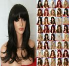 Dark Brown Fashion medium real natural straight Women's Adult Hair curly Wigs