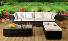 4 Piece Rattan Garden Patio Furniture Outdoor Set - Sofa, Ottoman, Coffee Table