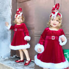 Xmas Toddler Kids Girls Christmas Santa Red Color Princess One Piece Dress US