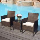 Garden Furniture 2 Seater Rattan Sofa 3pcs Patio Table Set Cushions Love Seat