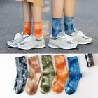 Women Men Tie-Dyed Breathable Soft Cotton Middle Tube Skateboard Socks Novelty