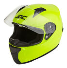 JDC Motorcycle Helmet Full Face ECE Approved Hi Vis Fluorescent Yellow PRISM