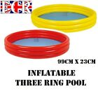 NEW INFLATABLE GARDEN THREE RING POOL RED OR YELLOW 99cm diam x 23cm height