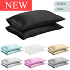 Best Silk Satin Pillowcase for Hair and Skin Smooth with Envelope Closure Black