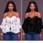 Womens Sexy Off Shoulder Long Sleeves Ruffles Frilly Shirt Slim Fit Blouse Tops