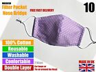 Handmade Cotton Face Mask, Reusable, Washable, Filter Pocket - Made in UK