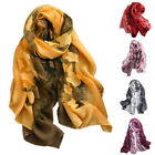 Women Long Neck Scarf Head Wrap Gradient Color Floral Embroidery Shawl Novelty