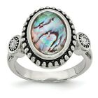 Chisel Stainless Steel Polished and Antiqued Synthetic Abalone and CZ Ring SR355 image