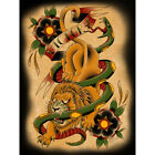 Victory by Christopher Perrin Lion American Traditional Tattoo Canvas Art Print $249.95 USD on eBay