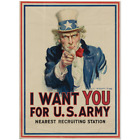 """Uncle Sam """"I Want You"""" 1917 World War I Recruiting Poster 22x30"""