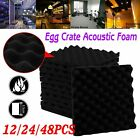 24/48 Acoustic Wall Panel Tiles Studio Sound Proofing Insulation Foam Black Pads