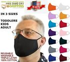 IN 3 SIZES Triple Layers 100% Cotton Face Mask Washable Reusable W/Filter Pocket
