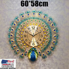 US 60x58cm Large Wall Clock Luxury Peacock Diamond Metal Decor Home Living Room