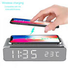 Digital LED Desk Alarm Clock Thermometer Qi Wireless Charger for iPhone Android