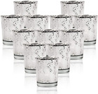SHMILMH Silver Votive Candle Holders, Set of 12 Mercury Glass Tealight Candle Ho